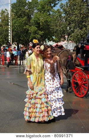 Spanish women at the Seville Fair.