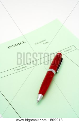 Close up Blank invoice with pen on white background