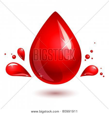 red drop on white. blood drop. eps 10