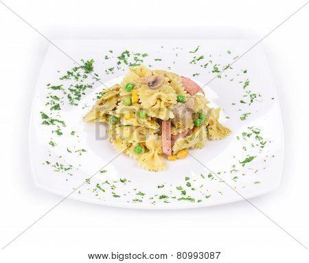 Pasta farfalle with ham