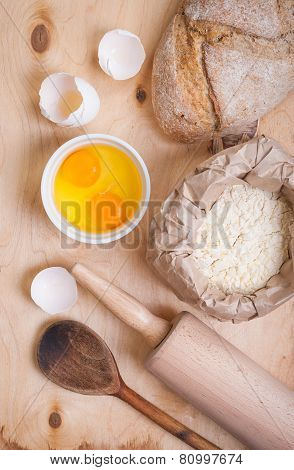 Baking Ingredients - Egg, Eggshell, Flour, Rolling Pin, Spoon