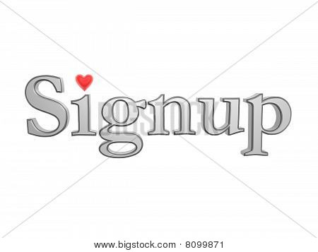 Signup With Love Heart