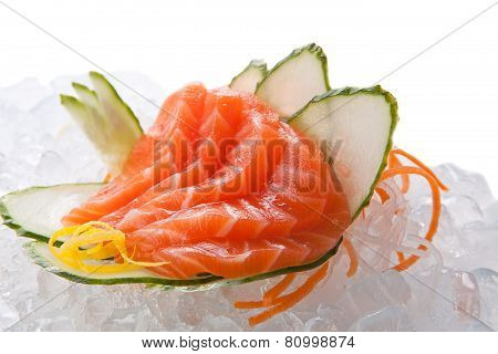 Traditional Sushi Sashimi On A White Background