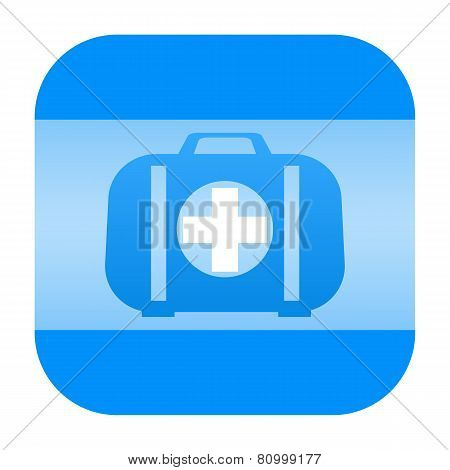 Blue First aid kit icon