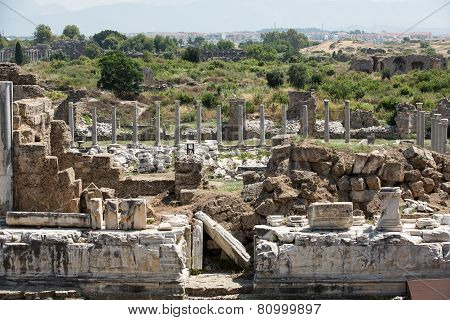 Ruins of ancient city in Side Turkey