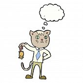 pic of dead mouse  - cartoon business cat with dead mouse with thought bubble - JPG