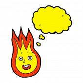 foto of fireball  - cartoon friendly fireball with thought bubble - JPG