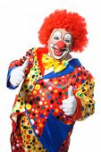 picture of clown face  - Portrait of a smiling clown giving thumbs up isolated on white - JPG
