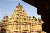stock photo of karnataka  - Beautiful stone architecture of twin Nandish Temples at the base of Nandi Hills near Bengaluru Karnataka India Asia - JPG