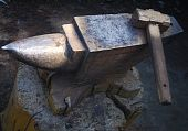 stock photo of blacksmith shop  - hammer and anvil used by a blacksmith - JPG