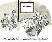 picture of gag  - Cartoon of business people in a meeting room and the leader is saying he defers to the businesswoman - JPG