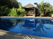 stock photo of gazebo  - reflection of the gazebo setting  - JPG