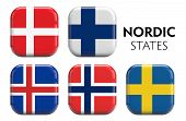 foto of scandinavian  - Scandinavian flags square icons image isolated on white - JPG