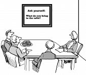 image of gag  - Cartoon of business people in a meeting and the sign says  - JPG