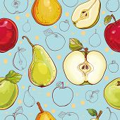 stock photo of freehand drawing  - Bright vector seamless pattern with fresh apples and pears - JPG