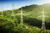 picture of transmission lines  - Summer landscape with high voltage transmission towers - JPG