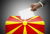 picture of macedonia  - Ballot box painted into national flag colors  - JPG