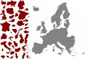 picture of political map  - Political Map of Europe and countries of Europe vector - JPG