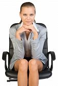 picture of recliner  - Businesswoman on office chair - JPG