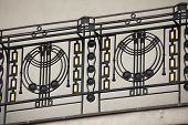 stock photo of ironworker  - Art Nouveau ironwork balcony in Prague - JPG