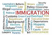 stock photo of deportation  - Immigration word cloud on white background - JPG