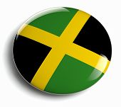 stock photo of jamaican flag  - Jamaica flag design round badge isolated on white - JPG