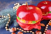 foto of hazelnut tree  - Red apples stuffed with dried fruits with cinnamon - JPG