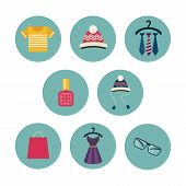 stock photo of perfume  - Series of eight flat icons the clothes and accessories  - JPG