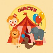 image of circus clown  - Circus performance poster with tent clown and lion elephant sealion animals flat vector illustration - JPG