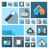 stock photo of real  - Real estate icons set with garage location search contract isolated vector illustration - JPG