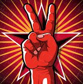 image of communist symbol  - Great illustration of Retro Style Peace Hand Sign gesturing positive Peaceful Vibes - JPG