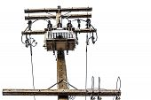 stock photo of transformer  - Transformers and electric poles isolated on white with clipping path  - JPG