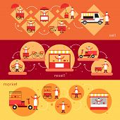 picture of food truck  - Street food horizontal banner set with sell resell market elements isolated vector illustration - JPG