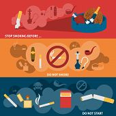 stock photo of  habits  - Smoking kills harmful hazzard habit flat horizontal banner set isolated vector illustration - JPG