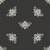 picture of frilly  - Vintage lace with bees - JPG