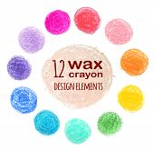 foto of wax  - set of colored spots wax crayon - JPG