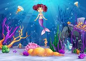 image of mermaid  - Illustration of the underwater world with a mermaid with pink hair - JPG