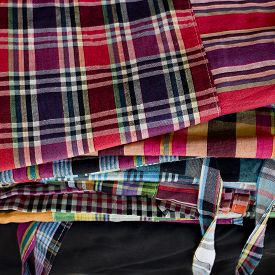 stock photo of loincloth  - Striped loincloth fabric colorful style cultural design - JPG
