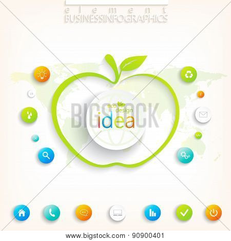 Modern green infographic design with place for your text , workflow, layout, chart,  options.