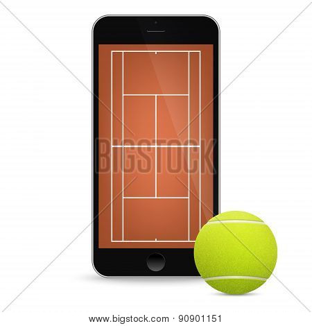 Black vector smartphone with tennis ball and field on the screen.