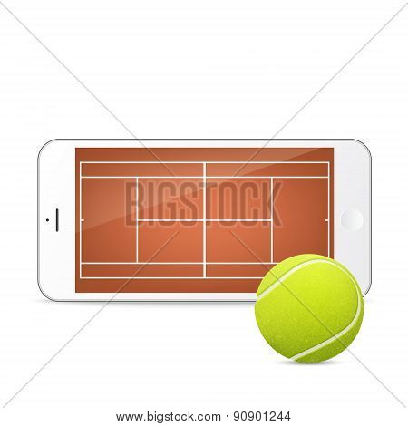 White smartphone with tennis ball and field on the screen.