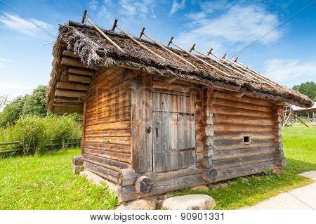 Small Rural Russian Bath Building In A Rural Courtyard
