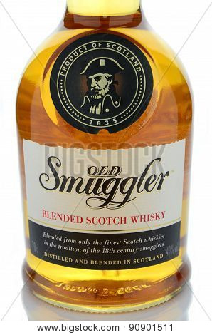 Old smuggler whisky isolated on white background