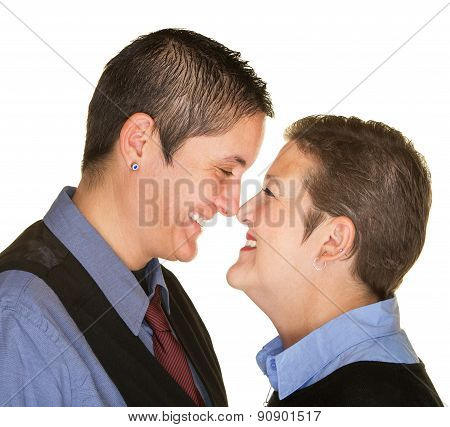 Happy Couple Touching Noses