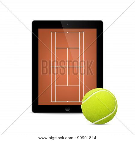 Black tablet with tennis ball and field on the screen.