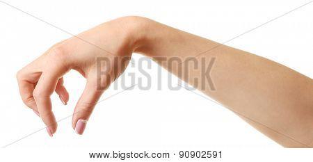 Female hand isolated on white