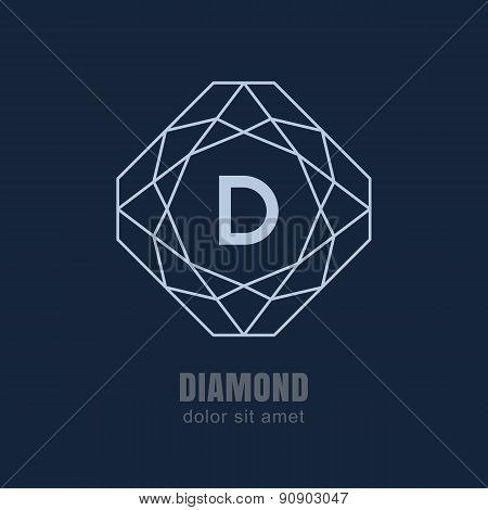 Abstract Line Diamond Shape Frame On Dark Blue Background. Vector Logo Design Template. Jewelry Illu