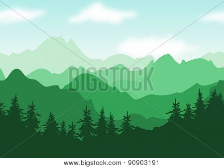 Vector Beautiful Summer Landscape, Green Mountains With Trees Silhouettes. Nature Seamless Backgroun