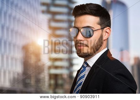Portrait of a businessman wearing sunglasses