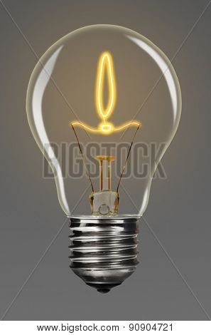 bulb with glowing exclamation mark inside of it, creativity concept